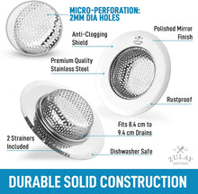 "Load image into Gallery viewer, Sink Drain Strainer (2 Pack) - Wide Rim 4.5"" Diameter"
