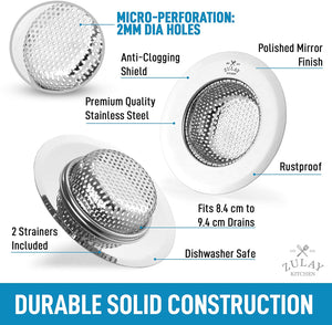 "Sink Drain Strainer (2 Pack) - Wide Rim 4.5"" Diameter"