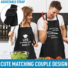 Load image into Gallery viewer, Funny Aprons for Women, Men & Couples - Black Apron with Pockets for BBQ, Cooking, Baking, Painting, More