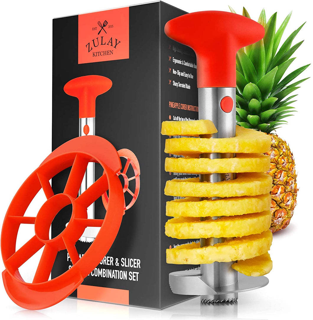 Pineapple Corer and Slicer Tool Set - Heavy Duty Stainless Steel Pineapple Cutter