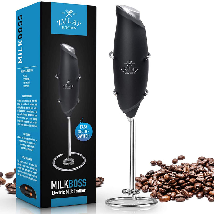 2020 Milk Frother Electric Handheld Foam Maker for Lattes - Mini Blender and Milk Foamer Frother for Cappuccino, Frappe, Matcha, Hot Chocolate - Zulay Kitchen