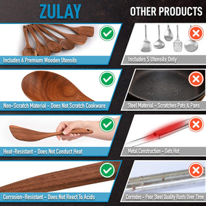 Zulay Kitchen (6 Pc Set) Teak Wooden Cooking Spoon Sets in Smooth Finish