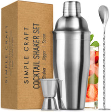 Load image into Gallery viewer, Simple Craft Cocktail Shaker with Built-in Strainer For Bartending & Homebars (24oz)