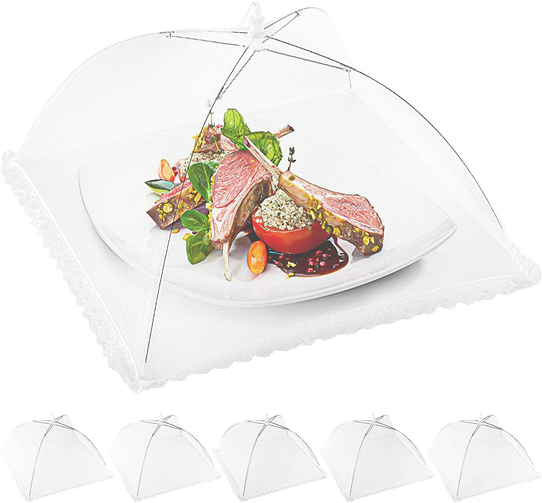 Pop Up Mesh Food Cover (6 pack) - Collapsible Umbrella Design Mesh Food Covers For Outside & Indoor Use