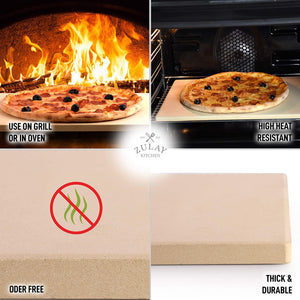 Large Pizza Stone for Oven (15x12 inch) - Heavy Duty Rectangular Pizza Stone for Grill & Baking
