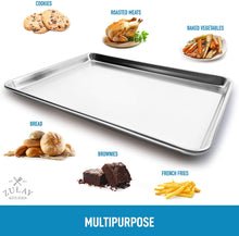 "Load image into Gallery viewer, Large Aluminum Baking Pan For Oven - Half Sheet (13"" x 18"")"