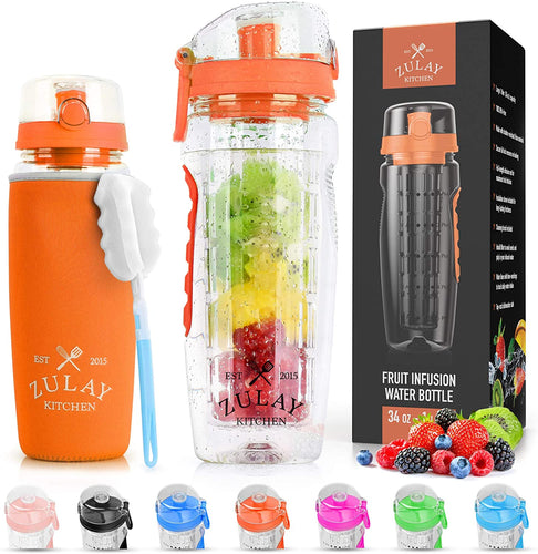 Portable Water Bottle with Fruit Infuser for Healthy & Delicious Hydration - Zulay Kitchen