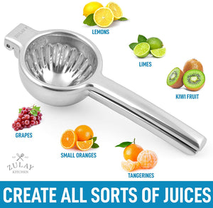 Extra Large Heavy Duty Stainless Steel Lemon Squeezer for Small Oranges, Lemons, Limes