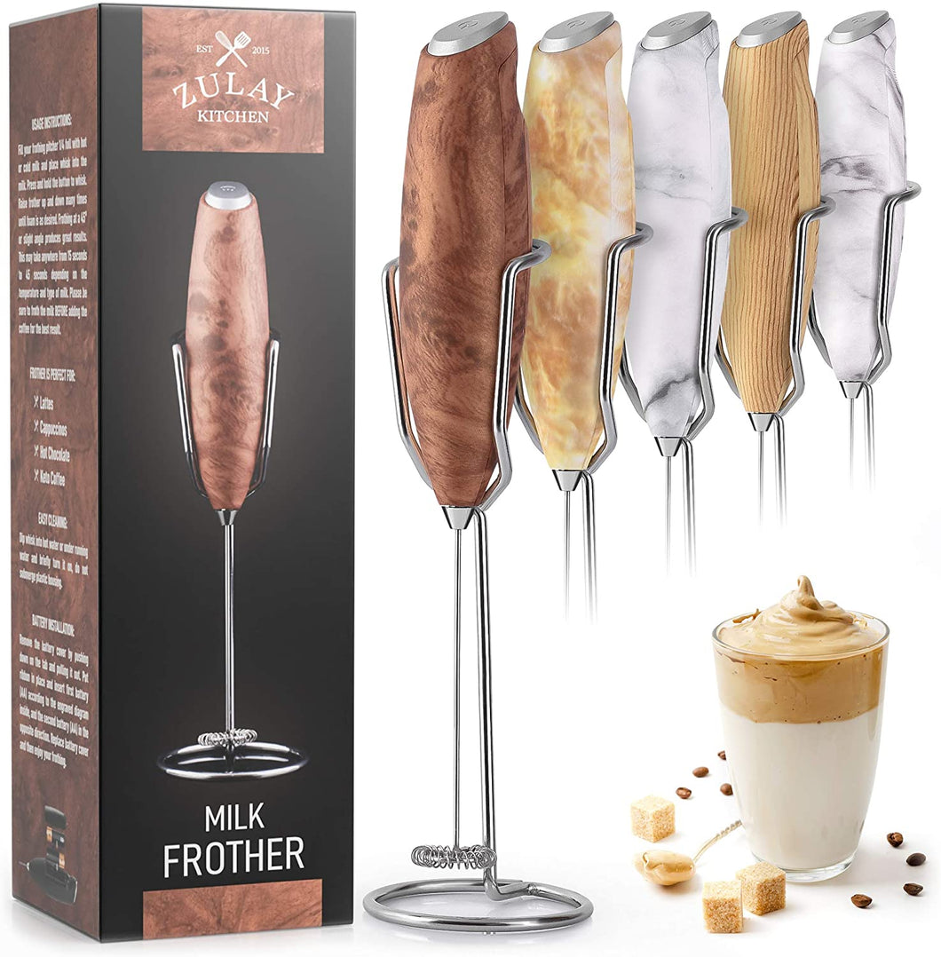 Zulay Milk Frother Handheld Foam Maker With Upgraded Holster Stand