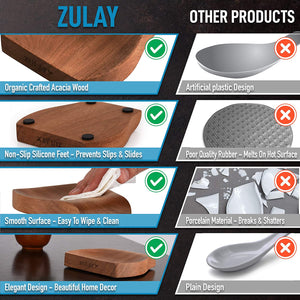 Zulay Acacia Wood Spoon Rest For Kitchen