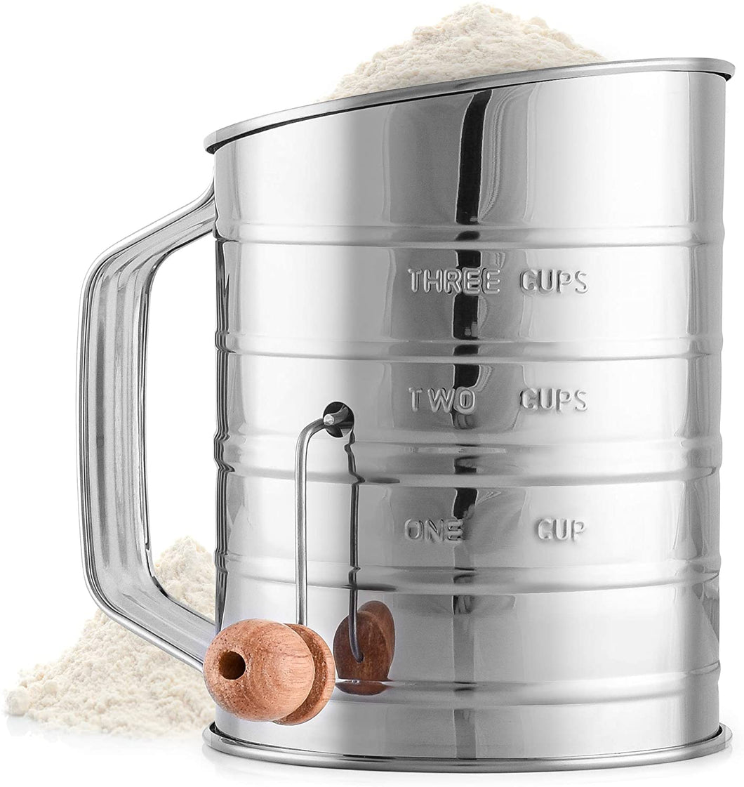 Flour Sifter with Agitator Wire Loop For Baking Cakes, Pastries, Pies, Cupcakes and Desserts