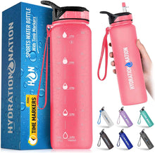 Load image into Gallery viewer, Hydration Nation Water Bottle With Time Marker 32 oz - Zulay Kitchen