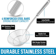 Load image into Gallery viewer, Spiral Wire Mesh Skimmer Spoon Ladle With Long Handle - Reinforced Double Coil Slotted Spoons For Cooking and Frying