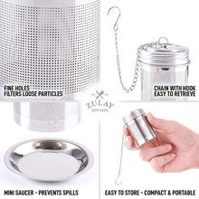Load image into Gallery viewer, Tea Ball Infuser - Stainless Steel Tea Infusers For Loose Tea With Chain Hook & Saucer (Set of 2)