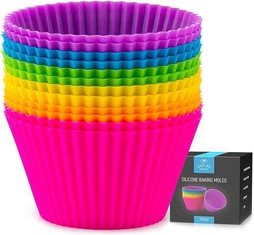Cupcakes Liners - 12 Pack Reusable Non Stick Silicone Cupcake Baking Cups & Silicone Muffin Liners For Baking