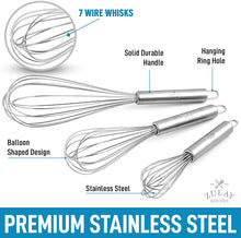 Load image into Gallery viewer, Stainless Steel Whisk (Set of 3) - Kitchen Utensil Wisk For Blending, Stirring, Whisking, and Beating Eggs, Batter, Sauces & More
