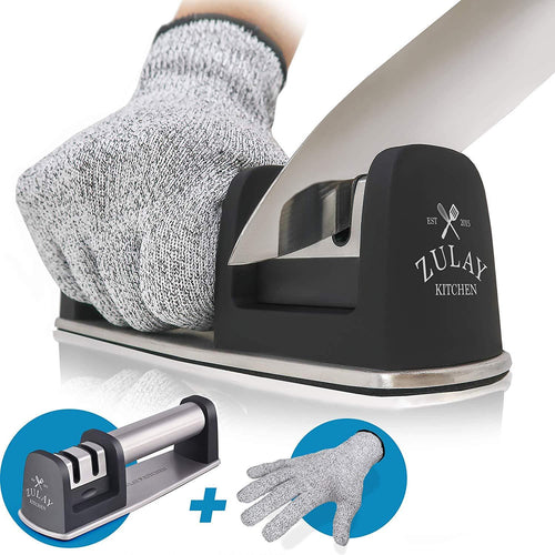 Knife Sharpener & Cut-Resistant Glove | 2-Stage Knife Sharpening Tool - Zulay Kitchen