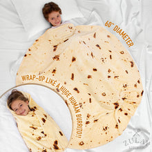 Load image into Gallery viewer, Novelty Throw Burrito Blanket Flour Tortilla Design