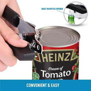 Can Opener With Stainless Steel Blades and Large Turn Knob