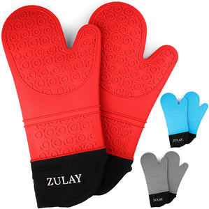 Silicone Oven Mitts - 1 Pair Oven Mitts Silicone Heat Resistant with Quilted Cotton Liner for Baking, Cooking, Grilling & More