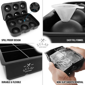 Zulay Silicone Square Ice Cube Mold and Ice Ball Mold For Whiskey (Set of 2)