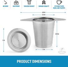 Load image into Gallery viewer, Zulay (Large) Stainless Steel Tea Filter For Loose Tea - Reusable Tea Strainer For Loose Tea With Fine Mesh