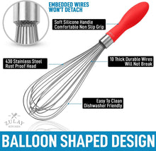 Load image into Gallery viewer, Balloon Stainless Steel Whisk with Soft Silicone Handle (12 inch)