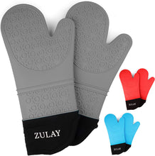 Load image into Gallery viewer, Silicone Oven Mitts - 1 Pair Oven Mitts Silicone Heat Resistant with Quilted Cotton Liner for Baking, Cooking, Grilling & More