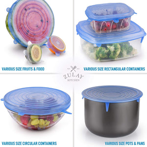 Zulay Kitchen Reusable Silicone Stretch Lids (Set of 14)