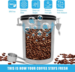 Stainless Steel Coffee Canister with Air Filter and Date Tracking
