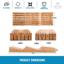 Load image into Gallery viewer, Zulay Kitchen Bamboo Knife Drawer Organizer Insert