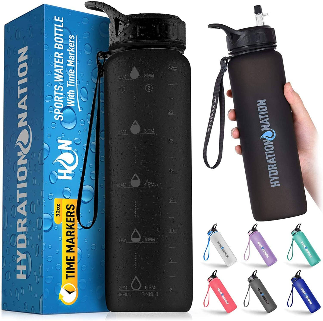 Hydration Nation Water Bottle With Time Marker 32 oz - Zulay Kitchen