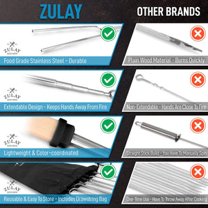 Zulay (8 Pack) Long 32 inch Marshmallow Roasting Sticks Extendable Design