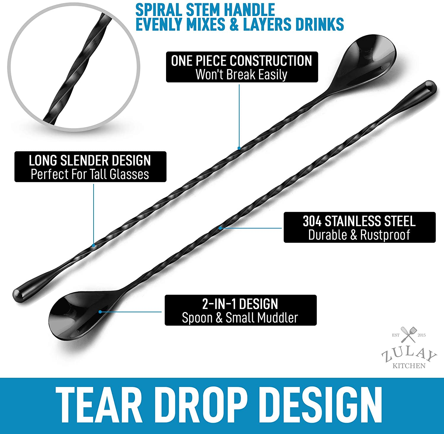 Stainless Steel Spiral Handle for Easier Mixing Cocktail Mixing Spoon Ideal Tool for Bartenders