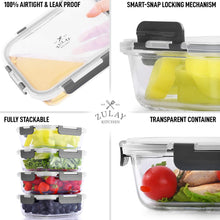 Load image into Gallery viewer, Snap Lock Glass Food Container with Lids (5-Pack)