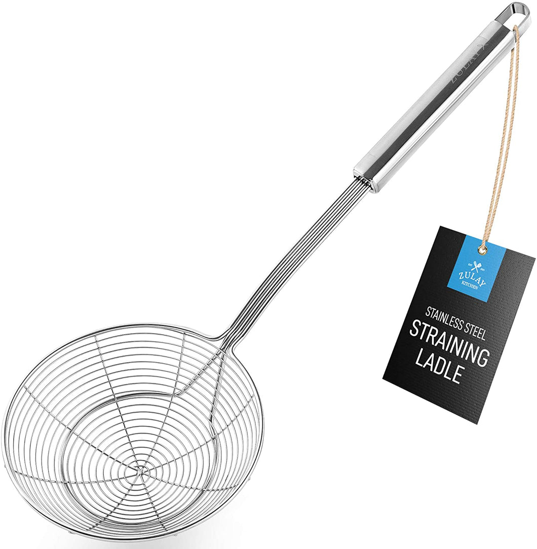 Spiral Wire Mesh Skimmer Spoon Ladle With Long Handle - Reinforced Double Coil Slotted Spoons For Cooking and Frying