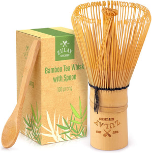 Traditional Matcha Whisk & Spoon - 100 Prong Bamboo Whisk For Ceremonial Tea Preparation - Authentic Japanese Bamboo Whisk For Matcha Tea