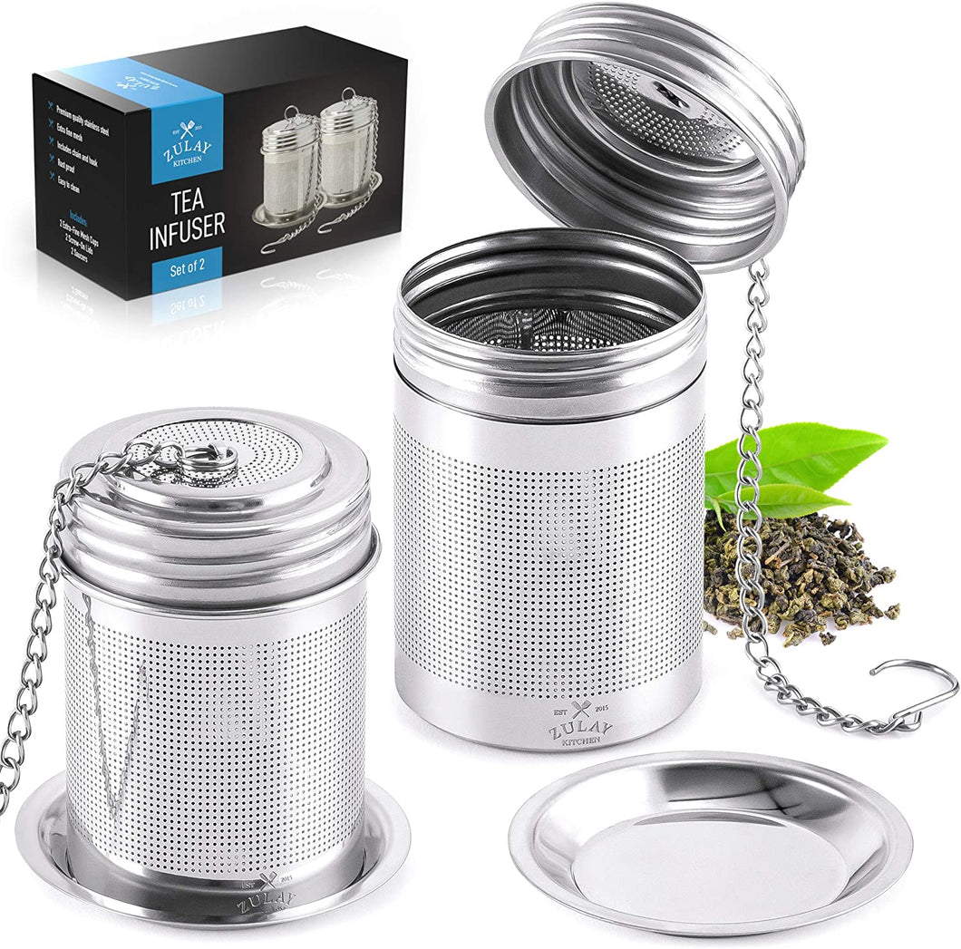 Tea Ball Infuser - Stainless Steel Tea Infusers For Loose Tea With Chain Hook & Saucer (Set of 2)