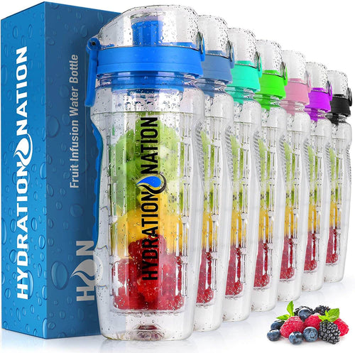 Hydration Nation Portable Water Bottle with Fruit Infuser for Healthy & Delicious Hydration - Zulay Kitchen