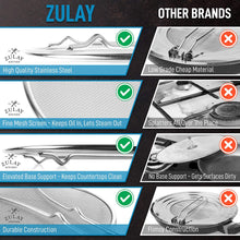 Load image into Gallery viewer, Zulay Kitchen Splatter Screen for Frying Pan - Stainless Steel Grease Guard Shield and Catcher