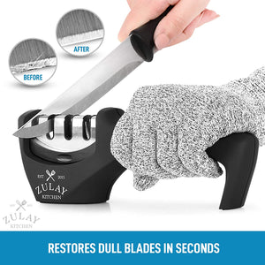 Zulay Kitchen 3 Stage Knife Sharpener & Cut-Resistant Glove