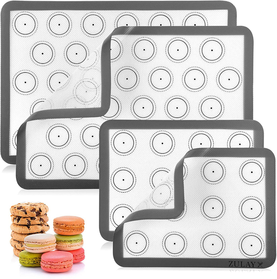 Macaron Silicone Baking Mats With Pre-printed Template Design - Non Stick & Reusable Silicone Baking Sheet - 2 Half Size + 2 Quarter Size