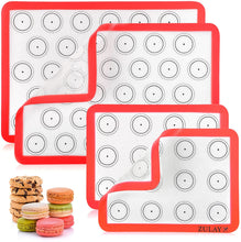 Load image into Gallery viewer, Macaron Silicone Baking Mats With Pre-printed Template Design - Non Stick & Reusable Silicone Baking Sheet - 2 Half Size + 2 Quarter Size
