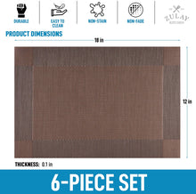 Load image into Gallery viewer, Vinyl Woven Placemats for Dining Table Set of 6 - Modern Washable Placemat for Home & Kitchen