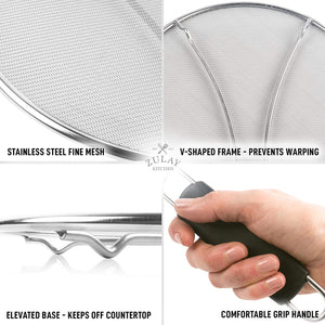Zulay Kitchen Splatter Screen for Frying Pan - Stainless Steel Grease Guard Shield and Catcher