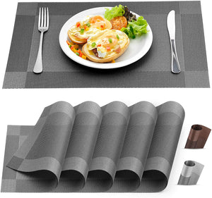 Vinyl Woven Placemats for Dining Table Set of 6 - Modern Washable Placemat for Home & Kitchen