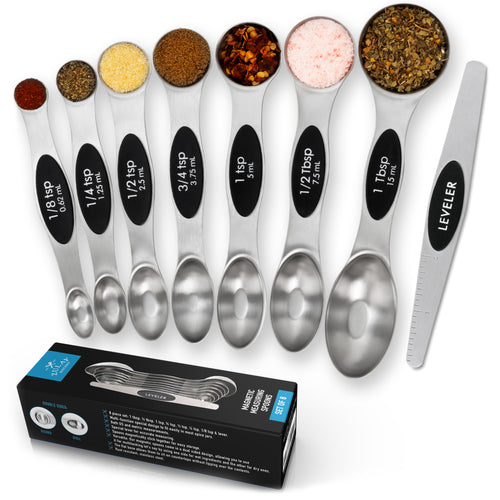 Stainless Steel Magnetic Measuring Spoons, 8 Piece Set with Leveler