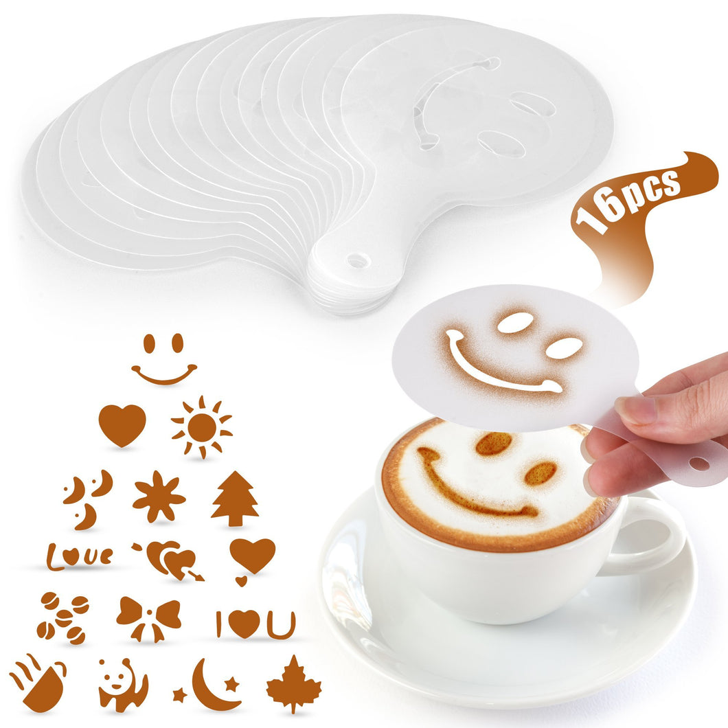 Plastic Stencils for Latte Art 16 Pack - Zulay Kitchen