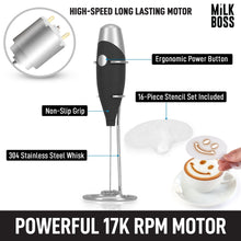 Load image into Gallery viewer, Milk Boss Mighty Milk Frother Handheld Whisk Mixer With 16-Piece Stencils For Lattes, Matcha & More - Zulay Kitchen