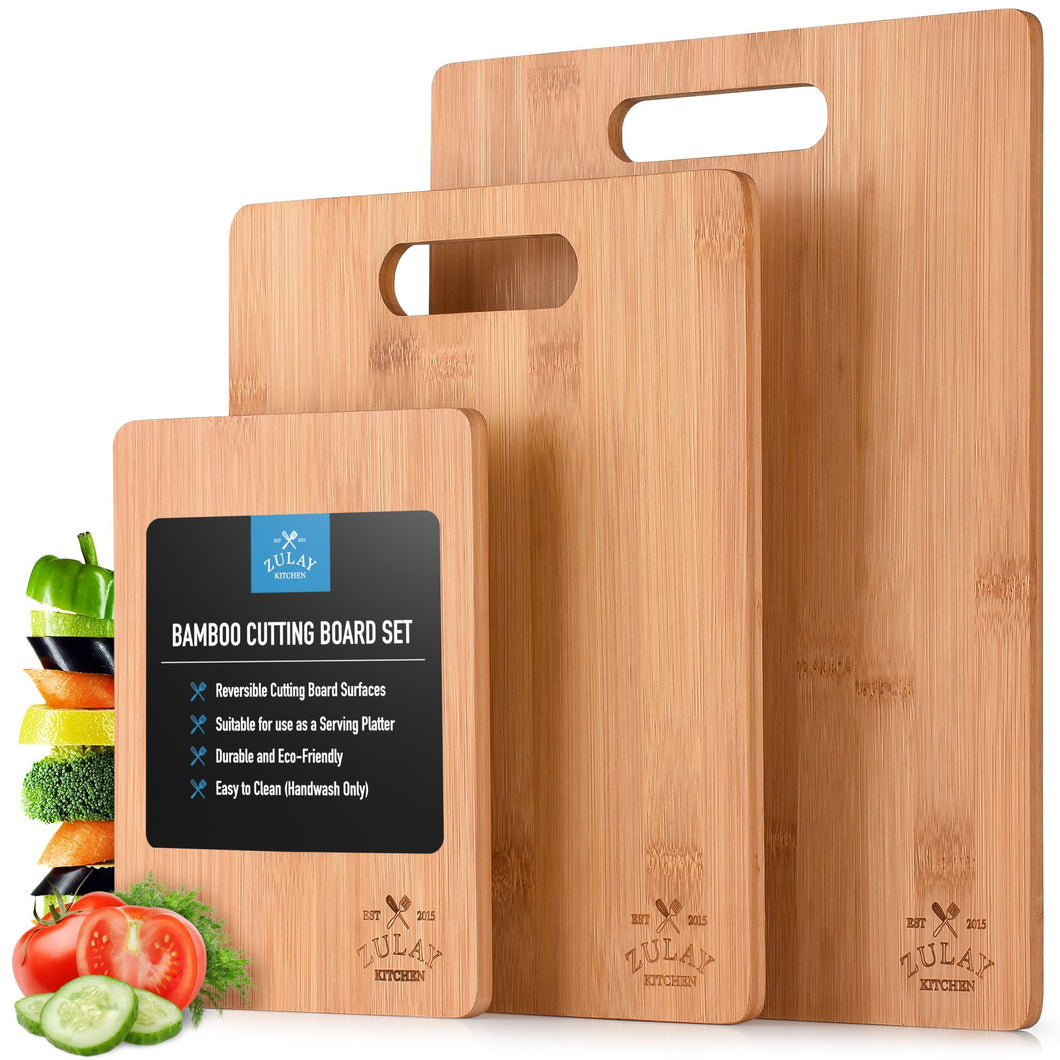 Bamboo Wooden Cutting Boards - 3 Assorted Sizes - Zulay Kitchen